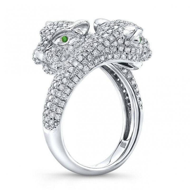 14k White Gold Diamond Emerald Panther Ring