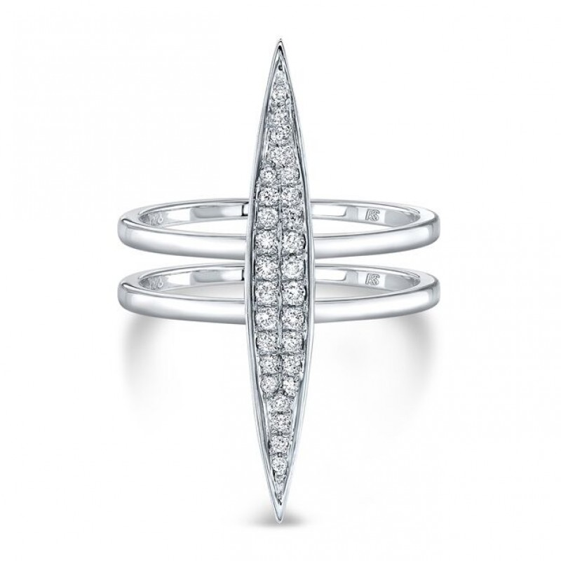 14k White Gold Diamond Marquise Bar Ring