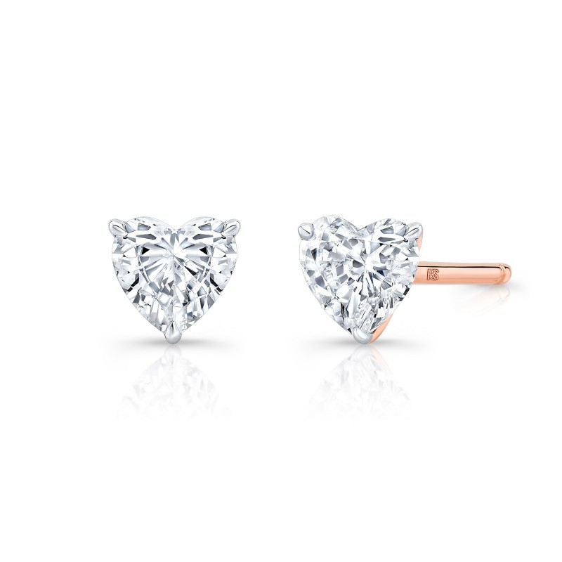 14k Rose Gold Floating Heart Cut Diamond Stud Earrings
