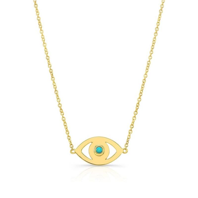14k Yellow Gold Turquoise Bezel Evil Eye Necklace