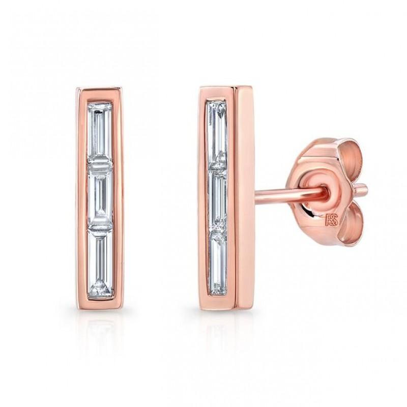 14k Rose Gold Diamond Baguette Bar Stud Earrings