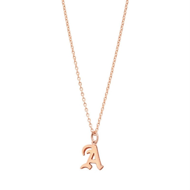 14k Personalized Rose Gold Letter Necklace