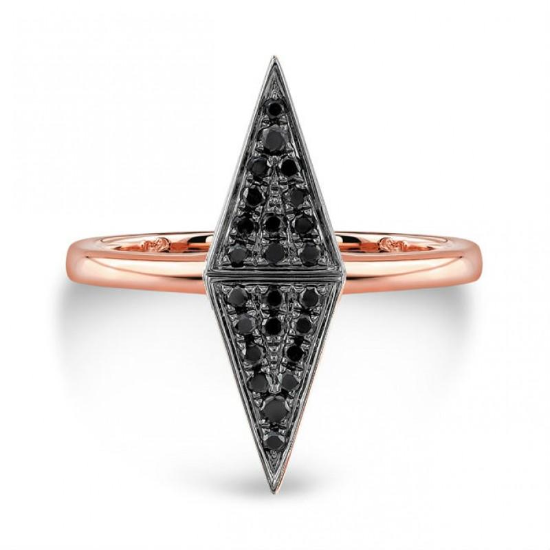 14k Rose Gold Black Diamond Double Triangle Ring