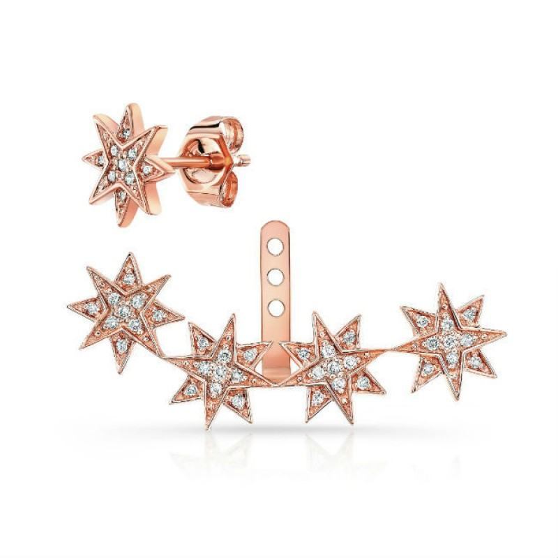 14k Rose Gold Diamond Starburst Ear Jacket