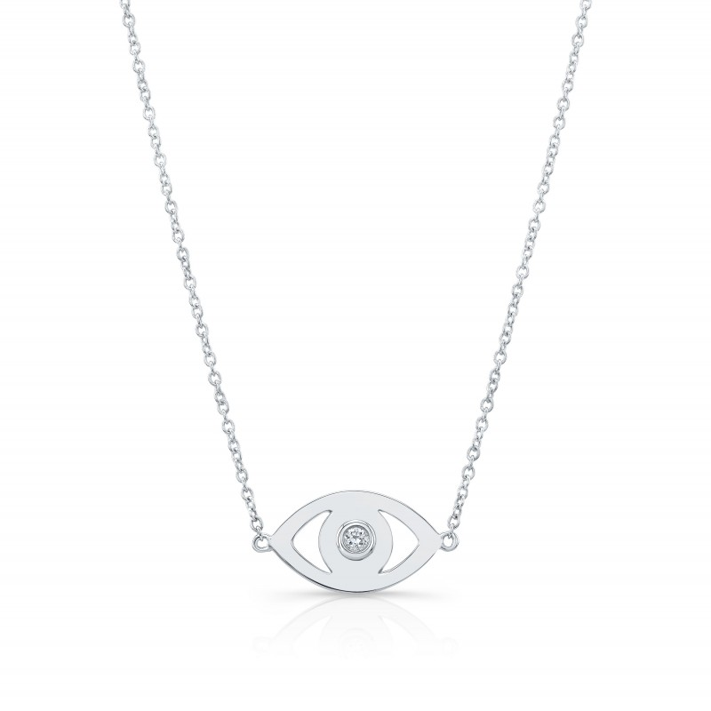 14k White Gold Diamond Bezel Evil Eye Necklace