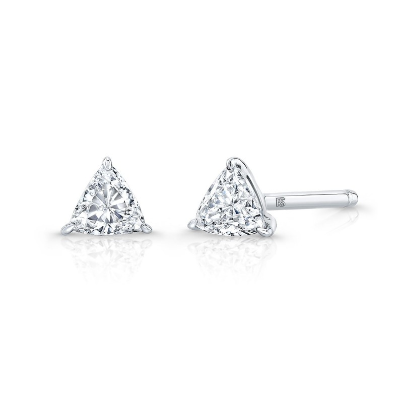 14k White Gold Floating Trillion Cut Diamond Stud Earrings