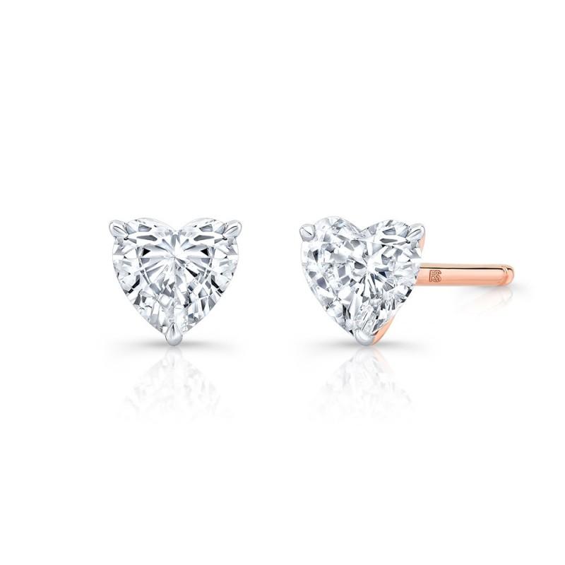 14k Rose Gold Floating Heart Cut Diamond Stud Earrings