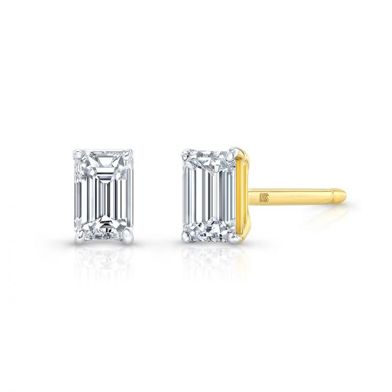 14k Yellow Gold Floating Emerald Cut Diamond Stud Earrings