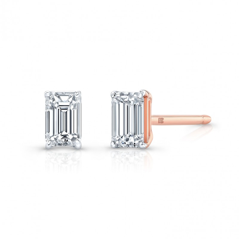 14k Rose Gold Floating Emerald Cut Diamond Stud Earrings