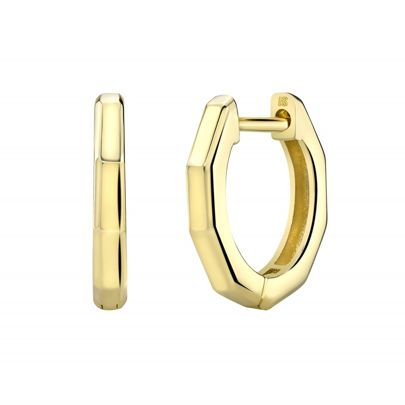 14k Yellow Gold Angled Huggie Hoop Earrings