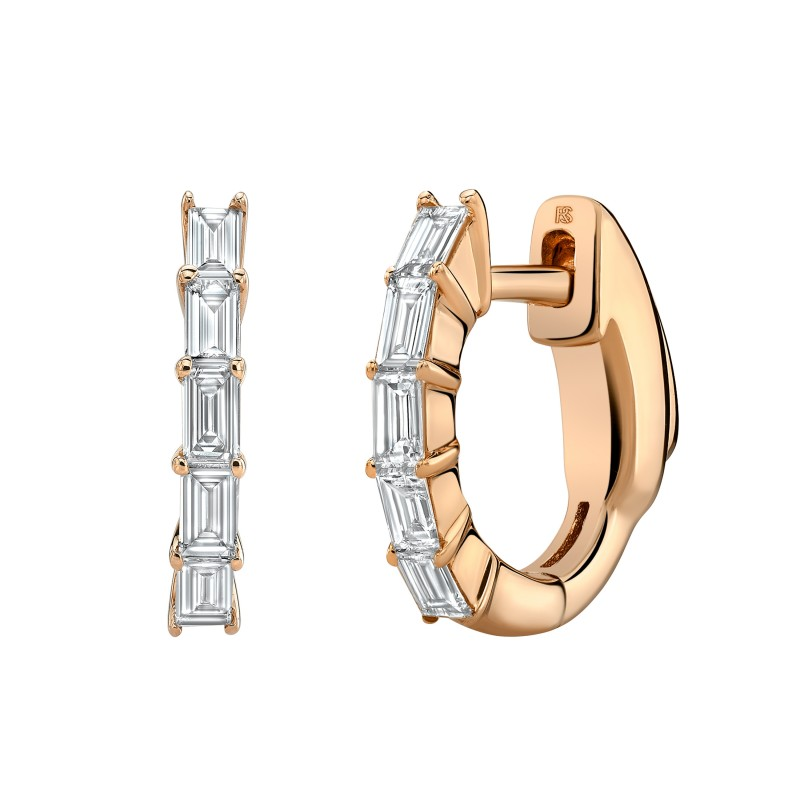 14k Rose Gold Diamond Baguette Huggie Hoops with Security Latch