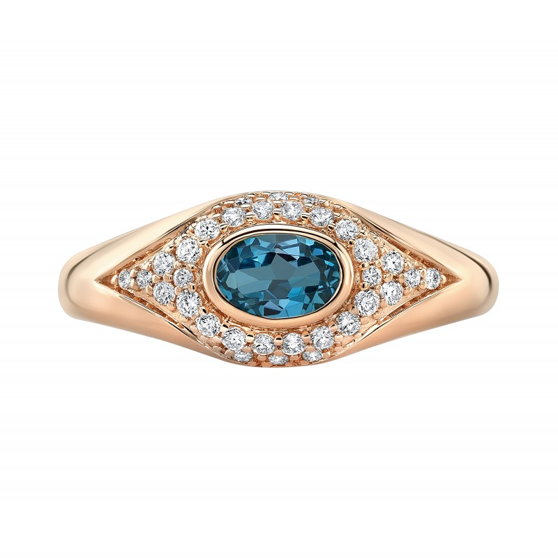 14k Rose Gold Diamond Blue Topaz Evil Eye Dome Ring
