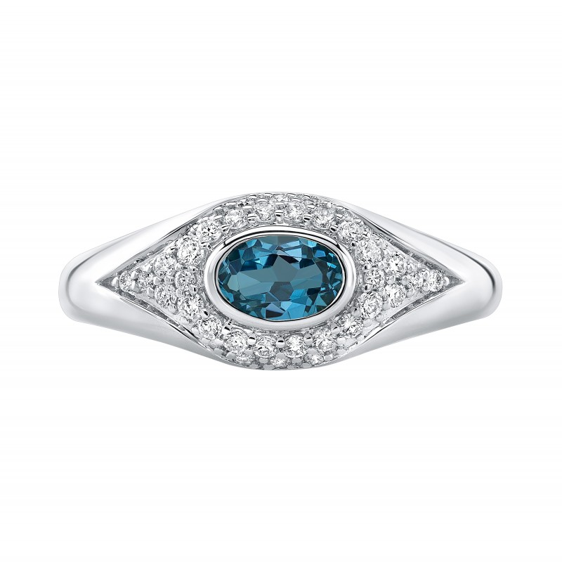 14k White Gold Diamond Oval Blue Topaz Evil Eye Dome Ring