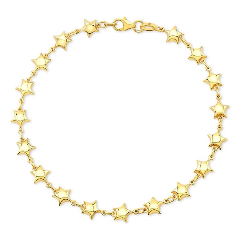 14k Yellow Gold Endless Puffed Star Bracelet