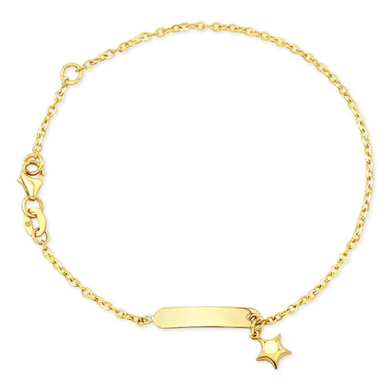 14k Yellow Gold Star Mini ID Bracelet