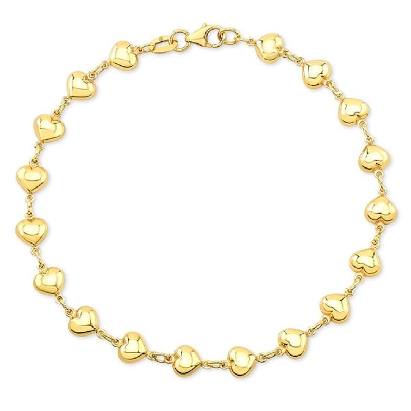 14k Yellow Gold Endless Puffed Heart Bracelet