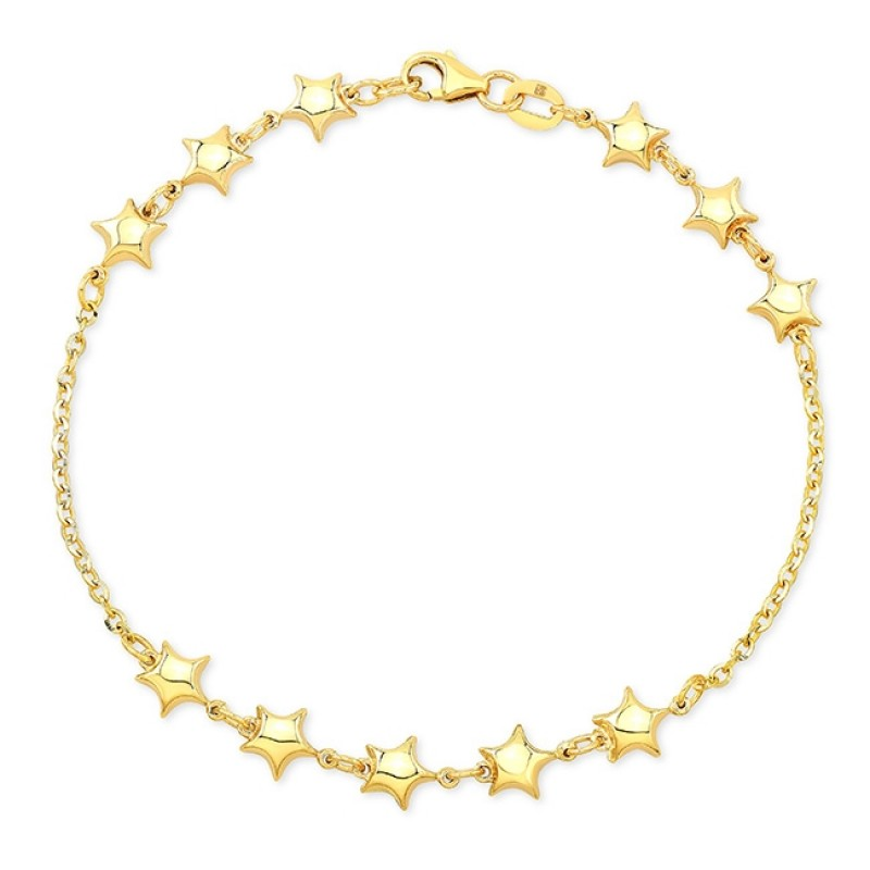 14k Yellow Gold 11 Puffed Star Bracelet