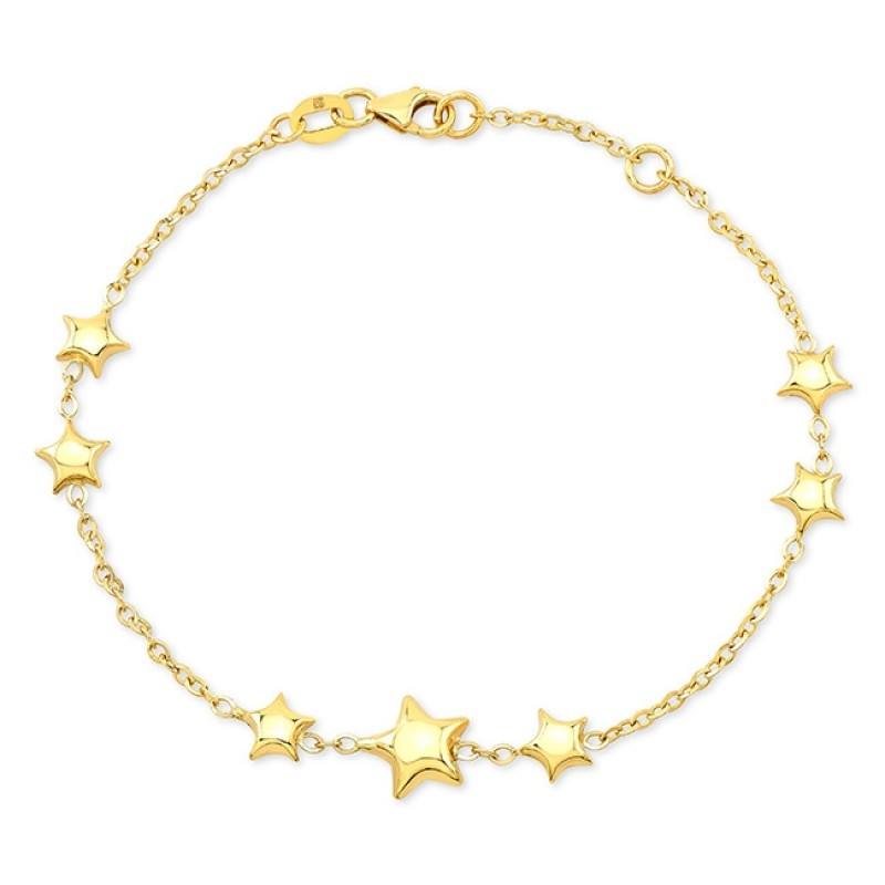 14k Yellow Gold 7 Puffed Star Bracelet
