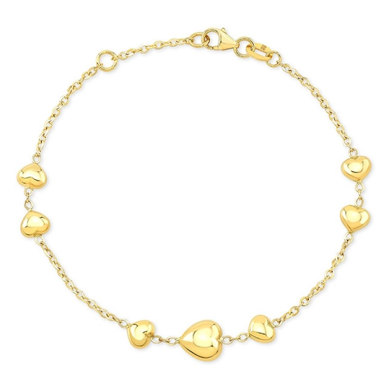 14k Yellow Gold 7 Puffed Heart Bracelet