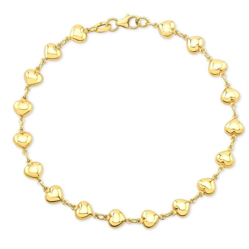 Kids' 14k Yellow Gold Endless Puffed Heart Bracelet