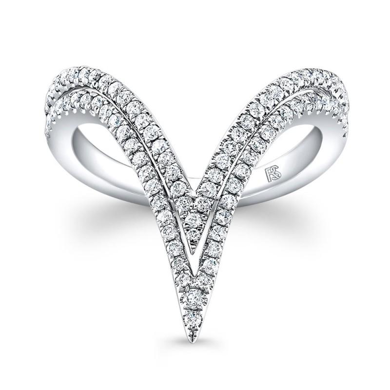 14k White Gold Diamond Curved Double V Ring