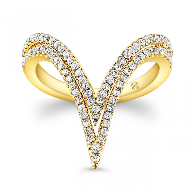 14k Yellow Gold Diamond Curved Double V Ring