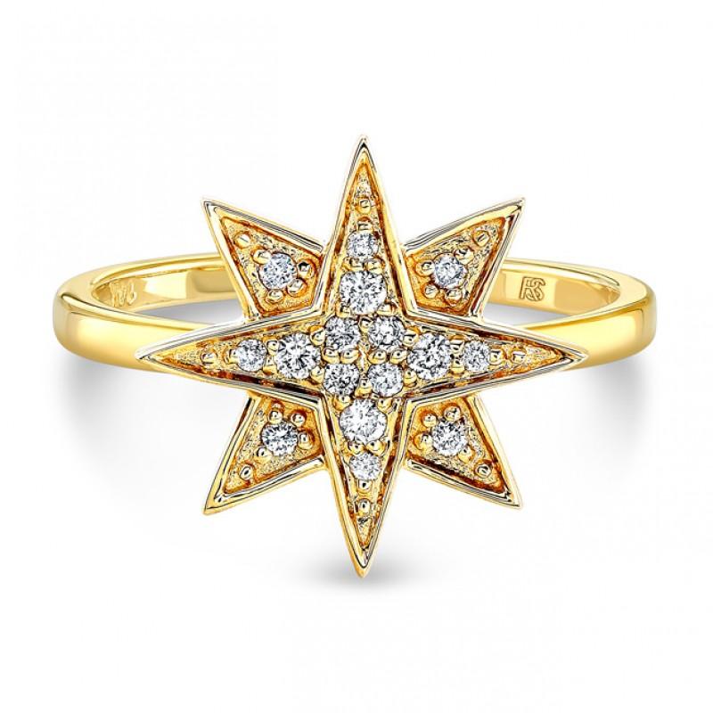 14k Yellow Gold Diamond Starburst Ring