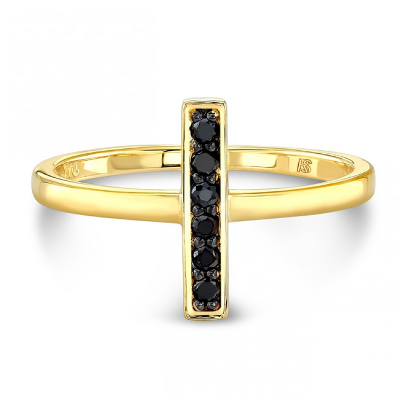 14k Yellow Gold Black Diamond Mini Bar Ring
