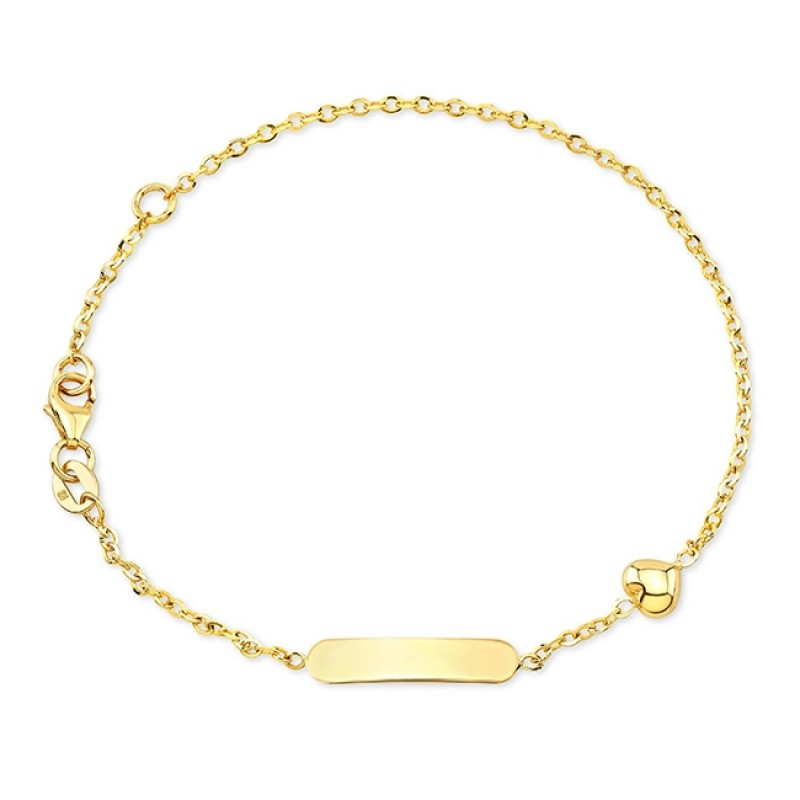14k Yellow Gold Heart Mini ID Bracelet