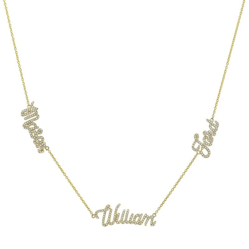 14k Yellow Gold Diamond Triple Script Name Necklace