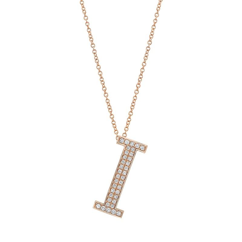 14k Rose Gold Diamond Initial Letter Charm
