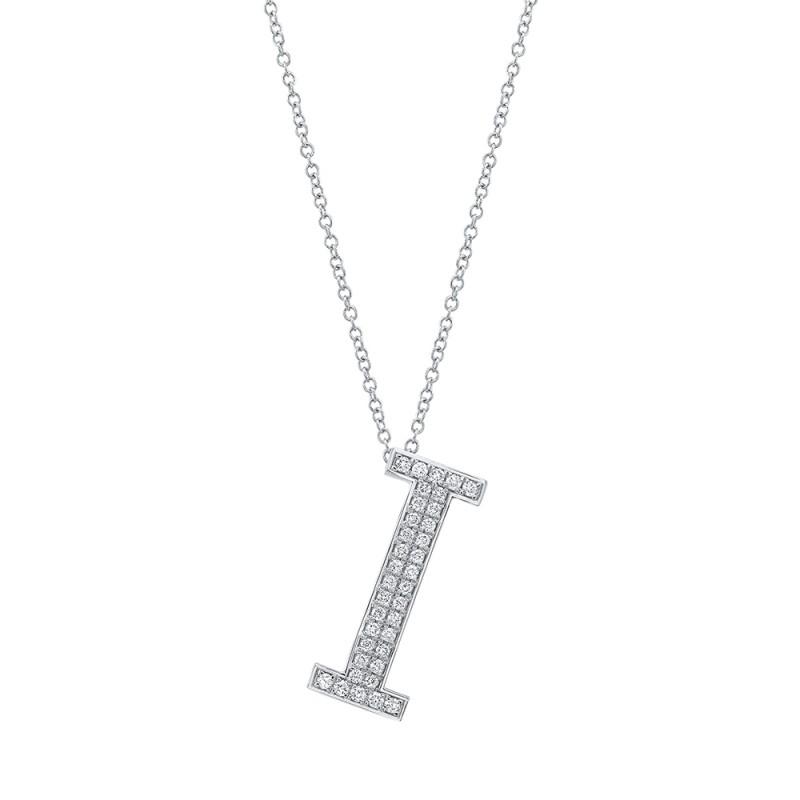 14k White Gold Diamond Initial Letter Charm