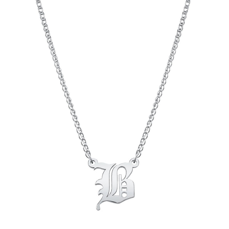 14k White Gold Old English Initial Necklace