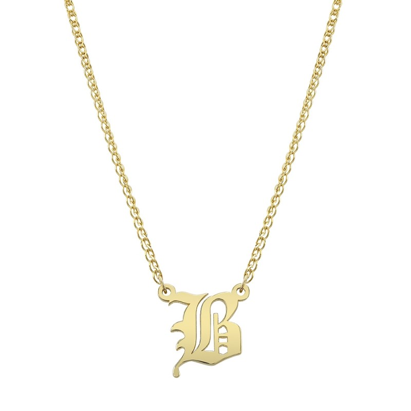 14k Yellow Gold Old English Initial Necklace