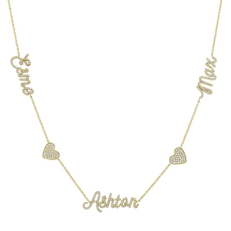 14k Yellow Gold Diamond Heart Script Triple Name Necklace
