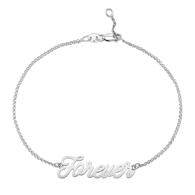 14k White Gold Script Forever Bracelet