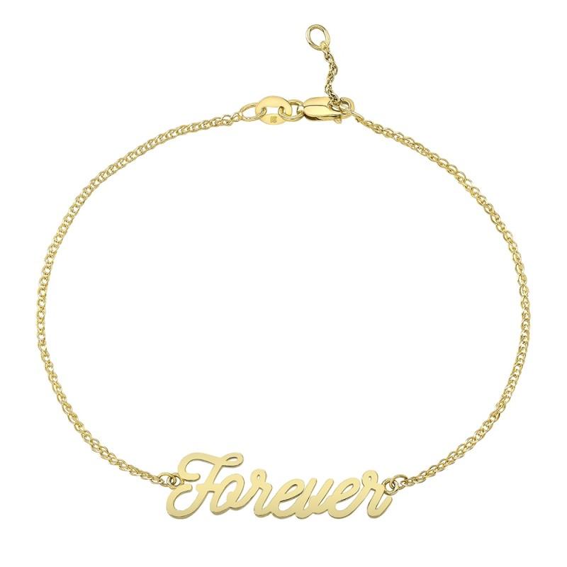 14k Yellow Gold Script Forever Bracelet