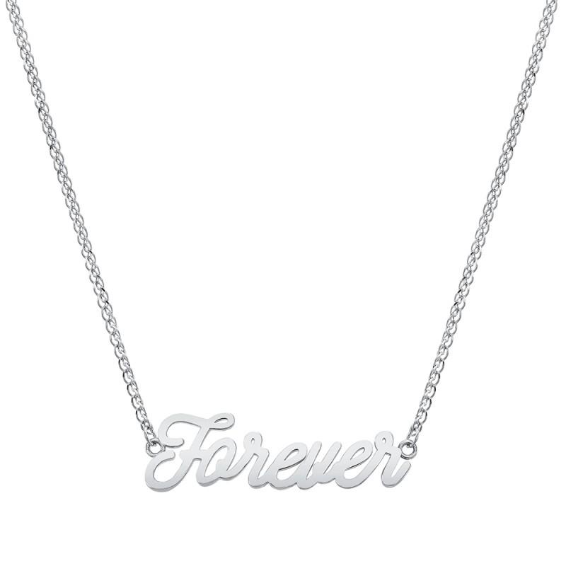 14k White Gold Script Mini Forever Necklace