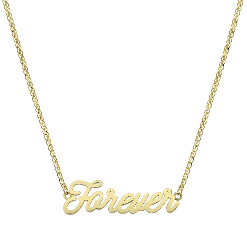 14k Yellow Gold Script Mini Forever Necklace