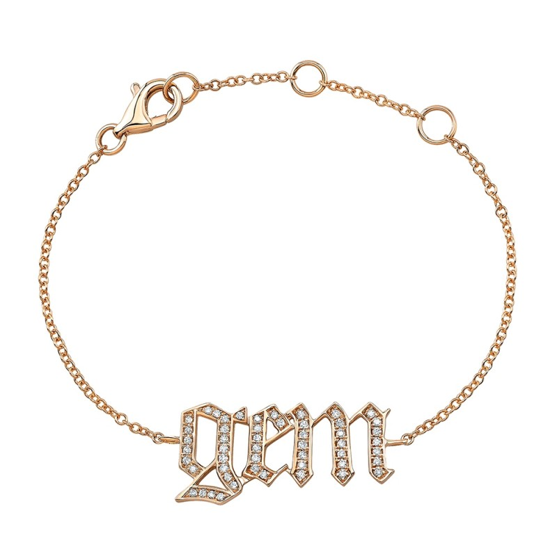 Kids' 14k Rose Gold Diamond Old English Name Bracelet