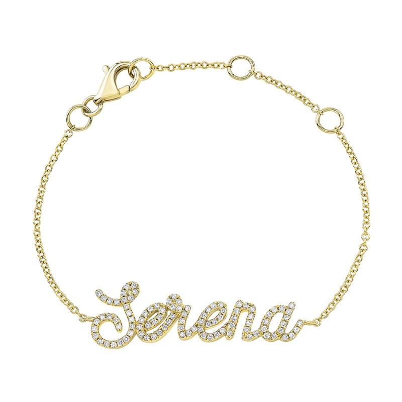 Kids' 14k Yellow Gold Diamond Script Name Bracelet