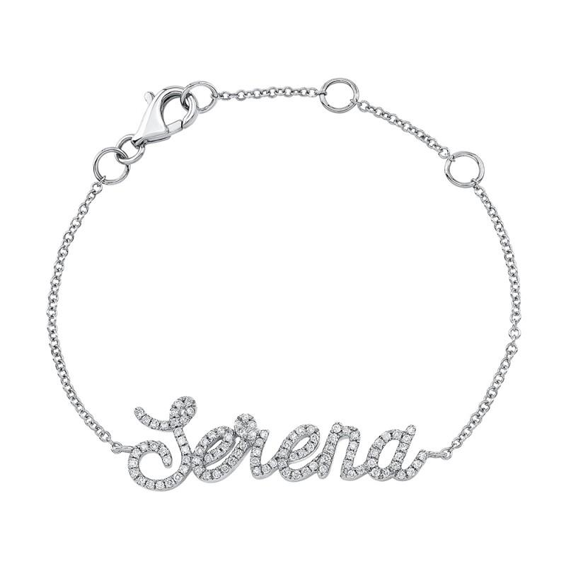 Kids' 14k White Gold Diamond Script Name Bracelet