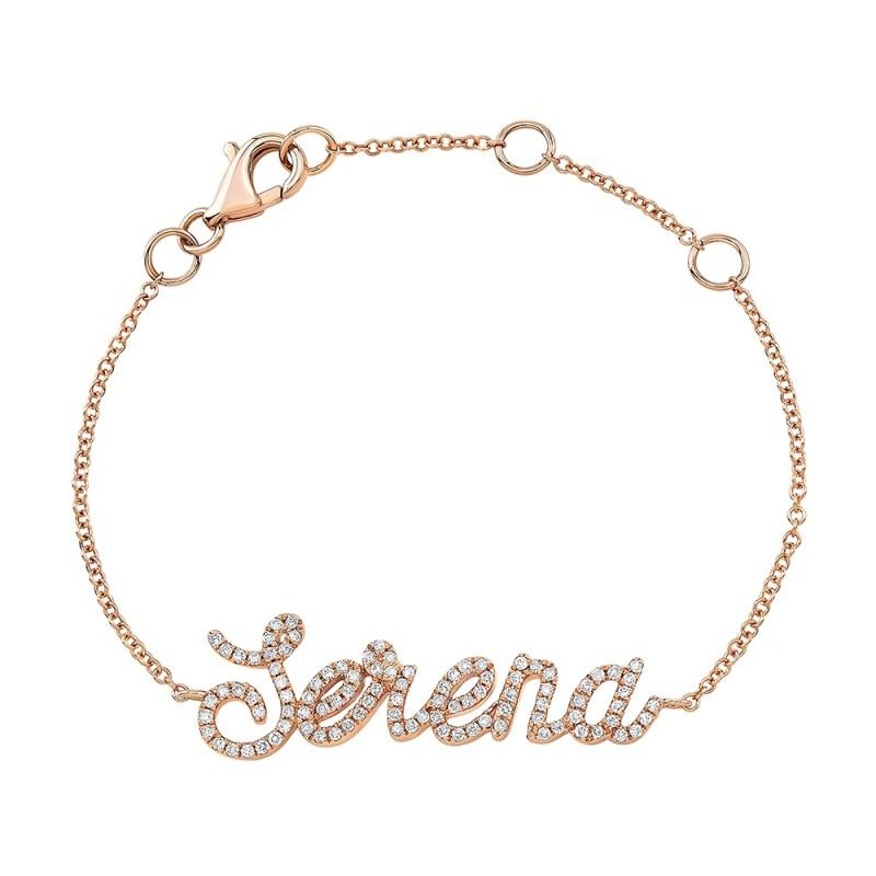Kids' 14k Rose Gold Diamond Script Name Bracelet