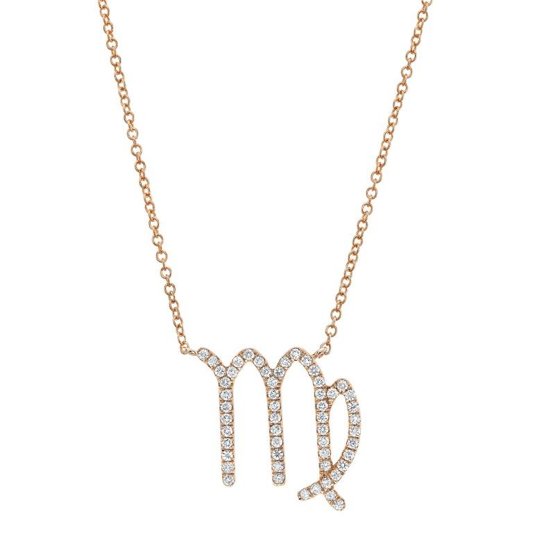14k Rose Gold Diamond Zodiac Necklace