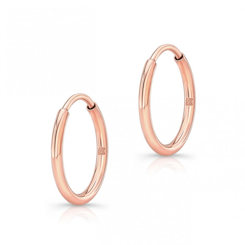 14K Rose Gold 12mm Comfy Hoops