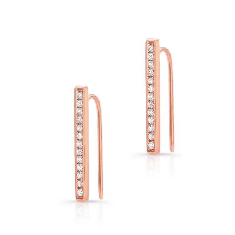 14k Rose Gold Diamond Bar Hook Earring