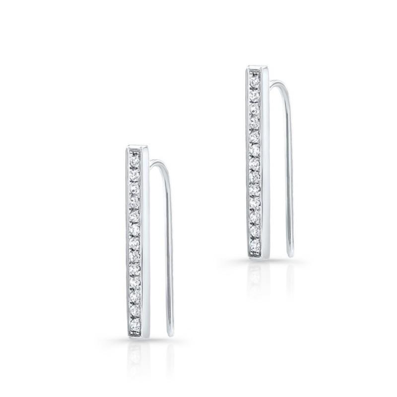 14k White Gold Diamond Bar Hook Earring