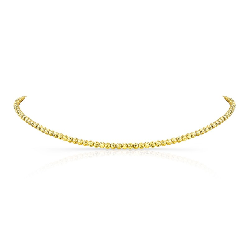 Kids' 14k Yellow Gold Diamond Cut Bead Choker
