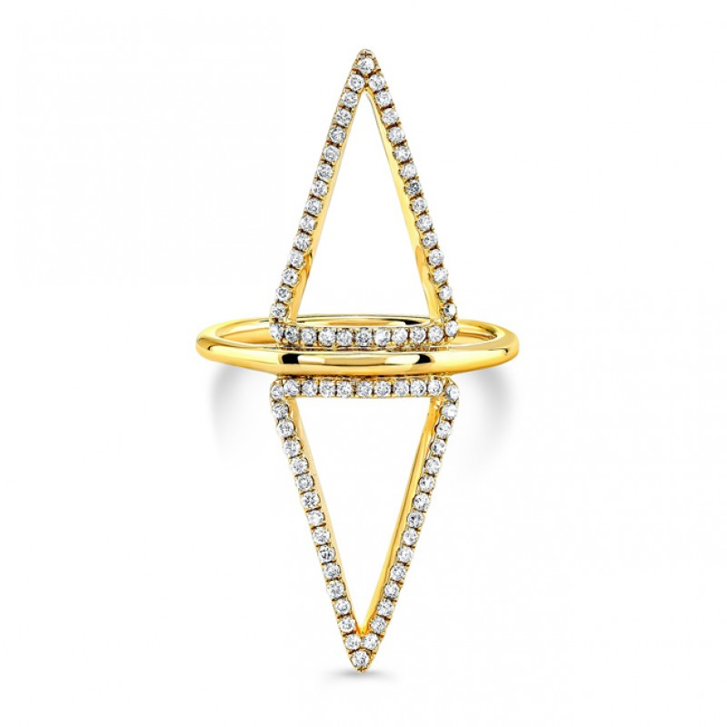 14k Yellow Gold Diamond Double Triangle Cut Out Ring