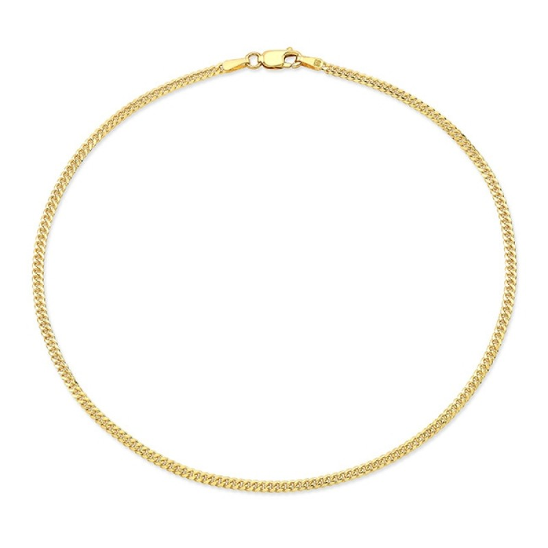 14k Yellow Gold Mini Miami Cuban Link Anklet